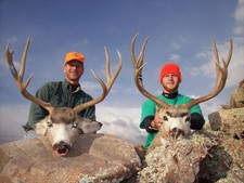A matching pair of trophy mule deer bucks.  Dave Brown and his son harvested these two trophy bucks while also hunting antelope during their trip to Wyoming.