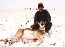 Wyoming antelope hunting in the snow.