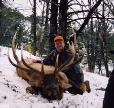 Elk hunting doesn't get any better than this.  Another picture of Dan Cabela with his monster bull elk.