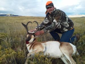 <p>Ryan Wildenborg with his giant 2014 Wyoming Rifle Antelope Hunt</p>