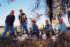 All five members of the Boman party filled their tags with exceptional trophy buck antelope.  Mrs. Boman, third from the left, ended up taking the highest scoring buck of the group.  Not a bad days work!!