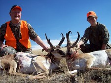 These two bothers came to Wyoming with their dad to enjoy a quality trophy antelope hunt.  Karl and Sam Fletcher harvested these two nice antelope before noon on opening day.  Their father harvested his antelope later that afternoon.
